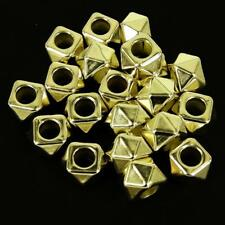 40 x CCB Plastique Gold Spacer beads Grand trou 14X10mm Carré Kumihimo NP37