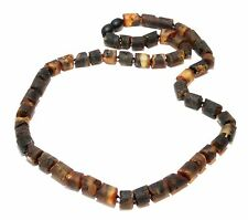 Unique Genuine Raw Natural Baltic Amber Adult Necklace for Men 50 cm Dark
