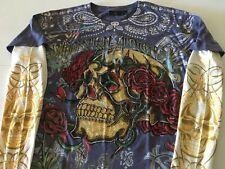 Christian Audigier T Shirt Med Long Sleeve tattoo rhinestone bling skull roses