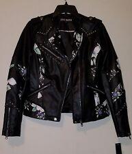 NWT Steve Madden Women's Floral Studded faux leather Biker/Moto Jacket Blk sz S