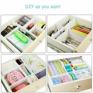 Adjustable Drawer Dividers Organiser Sock MakeUp Plastic Blind Closet Separators