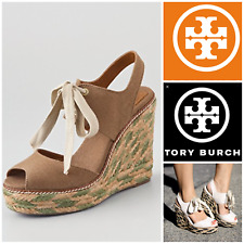 New Tory Burch Linley high wedge espadrille olive khaki lace size 10 ret. $195
