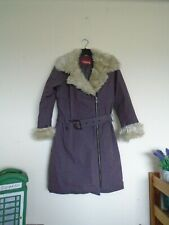 HOUSE mauve purple coat with faux fur collar and sleeve trim size S (8-10)