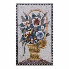 Summer Flower Basket Handmade Marble Natural Stone Fine Vivid Mosaic Wall Art