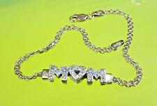 AC8 Beautiful Shiny 14K Yellow Gold HEART MOM Cute BRACELET Mother Heart Love