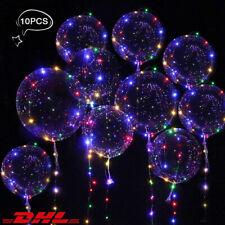 10X Helium LED Balloon Leucht Lichterkette Luftballon Transparent Weihnachten DE