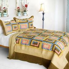 3 PC Dream High blue tan brown pink blocks floral 100% Cotton Queen Quilt Shams