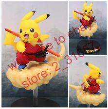 "Pokemon Go Pikachu Cosplay Dragon Ball Goku Gokou fly PVC figure statue 8"" nob R"