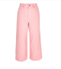 River Island Pink Alexa Cropped Wide Leg Jeans BNWT Size UK 10
