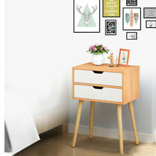 Nightstand Storage Wood End Table Bedside Organizer Modern 2 Drawers For Bedroom