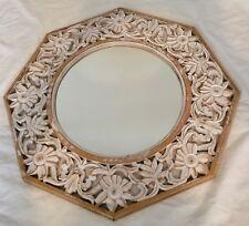 Brand New Large Round Wood Wall Mirror Shabby Chic White Decor
