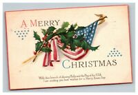 Vintage Early 1900's Post WW1 Patriotic Christmas Postcard POSTED