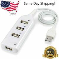 White USB 2.0 Hi-Speed 4-Port Splitter Hub For PC Notebook