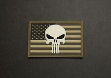 USA US Punisher Flag AOR1 MARPAT PVC Glow In Dark GITD Morale Patch SWAT