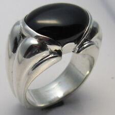 MJG STERLING SILVER MEN'S DEUCE RING. 16 x 12mm BLACK ONYX. SIZE 9 1/2.