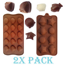 2 Different Silicone Sea Shells fish Mold candy Ice cube Tray Chocolate DIY Soap