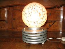 PETITE LAMPE ANCIENNE DESIGN 1970 EN MÉTAL ALUMINIUM ET VERRE MURANO MOUCHETÉ