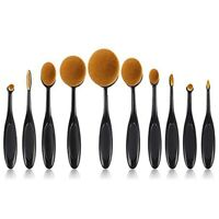 10pcs Makeup Brush Set Soft Oval Toothbrush Shaped Foundation Contour Brushes