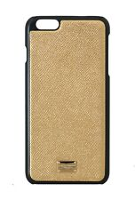 NEW $240 DOLCE & GABBANA Phone Case Gold Dauphine Leather Cover iPhone6 Plus