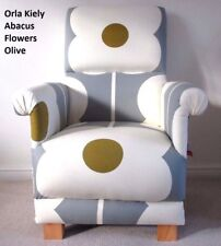 Orla Kiely Abacus Flowers Fabric Adult Chair Retro Armchair Olive Grey Mustard