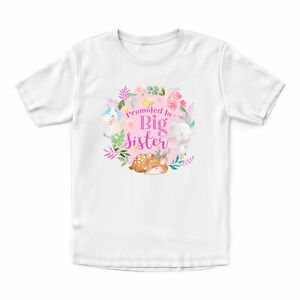 Girls Woodland Promoted To Big Sister T Shirt Baby Announcement New Girl Pregna