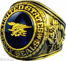 NAVY GOLD SEALS SEAL TEAM TRIDENT MILITARY RING ALL SIZES 7 8 9 10 11 12 13 14