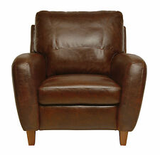 "New Luke Leather Genuine Italian Made ""Jennifer"" Brown Leather Club Chair Only"