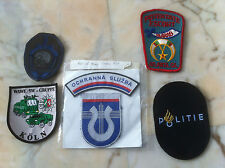 AN UNUSUAL COLLECTION OF 5 FOREIGN POLICE BADGES / PATCHES IN GREAT CONDITION