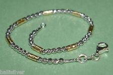 Sterling Silver 925 Laser Cut Beads and 14kt Gold Filled Hammered Tubes ANKLET