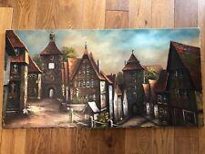 Original Large Oil on canvas Contemporary Houses Street View 100cm X 50cm