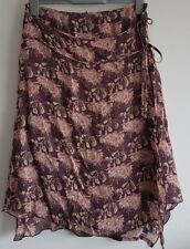 Size 12 Skirt GEORGE Purple Pink Cream Wrap Style Great Condition Women's