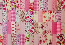 50 x 4 inch PINK PATCHWORK FABRIC SQUARES FLORAL GINGHAM ROSE SPOTS POLY COTTON