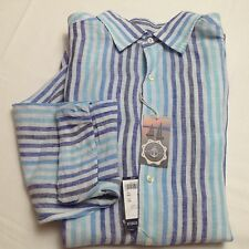 Cremieux Collection 100% Linen Blue Striped Long Sleeve Men Shirt L $79.50 New