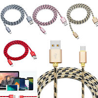 6.6FT Braided Type C Charging Cable Data Sync USB-C Cord Power Charger Charge US