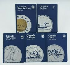 Lot 5 Canadian Uni-Safe Blue Coin Folder Protector Two Dollar 10 5 1 Cents Penny