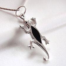 Black Onyx Gecko Necklace 925 Sterling Silver Corona Sun Jewelry lizard reptile