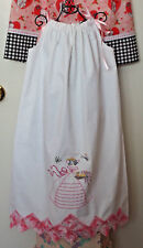"""Pillowcase Dress Hand Embr. w/""""Southern Girl""""holding Flower Basket size 6-7 NEW"""