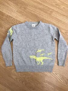Boys Gap Grey Knitted Dinosaur Jumper 6-7 Years