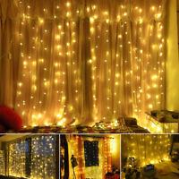 3x3m LED Lichtervorhang Lichterkette Innen Außen Weihnachten Garten Fenster Deko