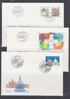 Switzerland Mi 1436/1460, 1991 issues, 8 sets on 8 individual cacheted FDCs