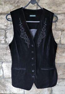 Vintage size UK12/14 LAURA ASHLEY velvet embroidered long black waistcoat