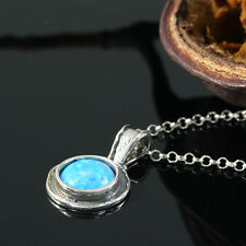 Vintage Look Dainty Sterling Silver Blue Fire Opal Necklace Round Pendant Y922