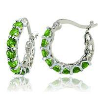 "Silver - Round Cut Peridot Small Hoop Earrings 1.4g  0.85"""