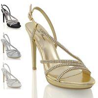 New Womens Platform Heels Diamante Bridal Sparkly Ladies Prom Sandals Shoes 3-8