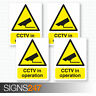 4 x CCTV STICKERS - CCTV In Operation Self Adhesive Vinyl Stickers 100mm x 130mm