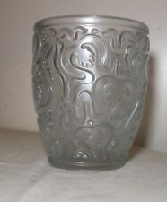 quality vintage frosted embossed thick relief art glass crystal vase Lalique?