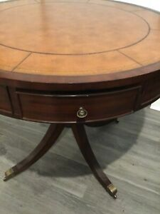 ETHAN ALLEN BRADFORD RENT TABLE MAHOGANY ROUND W/TOOLED LEATHER TOP