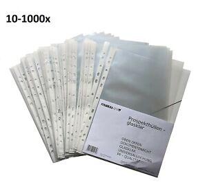 10-1000 Prospekthüllen A4 glasklar transparent Klarsicht Folie Hüllen Ordner