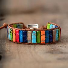 Natural Multi-Coloured Gemstone Oblong Wrap | Cuff Bracelet Jasper Malachite