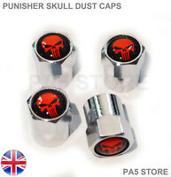 Punisher Skull Red & Chrome Dust Valve Caps - Car Van Ford V W Audi M Toyota UK